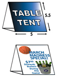 "5"" X 5.5"" Table Tent Cards"