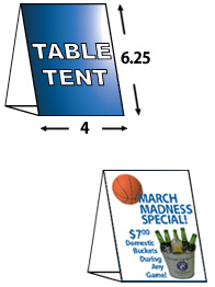 "4"" X 6"" Table Tent Cards"